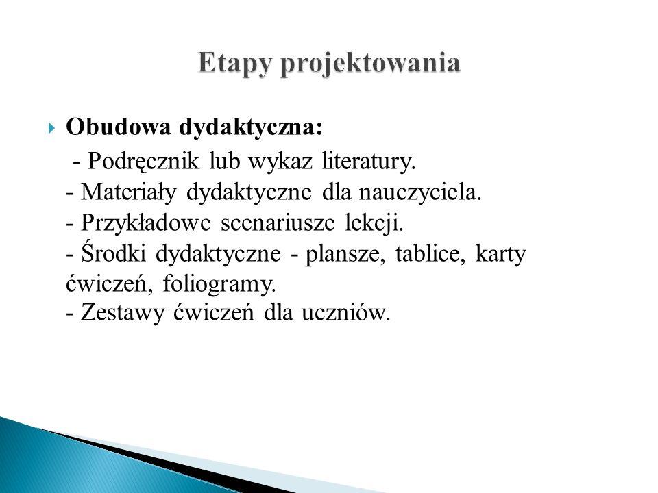 Etapy projektowania Obudowa dydaktyczna: