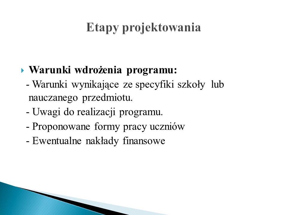 Etapy projektowania Warunki wdrożenia programu:
