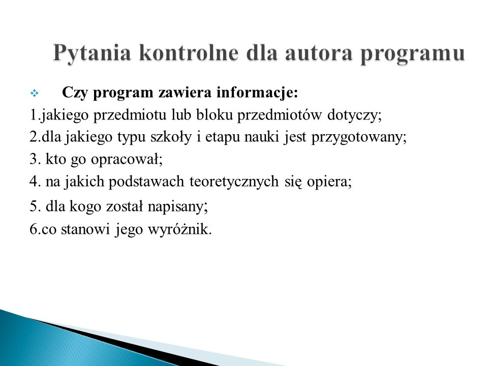 Pytania kontrolne dla autora programu