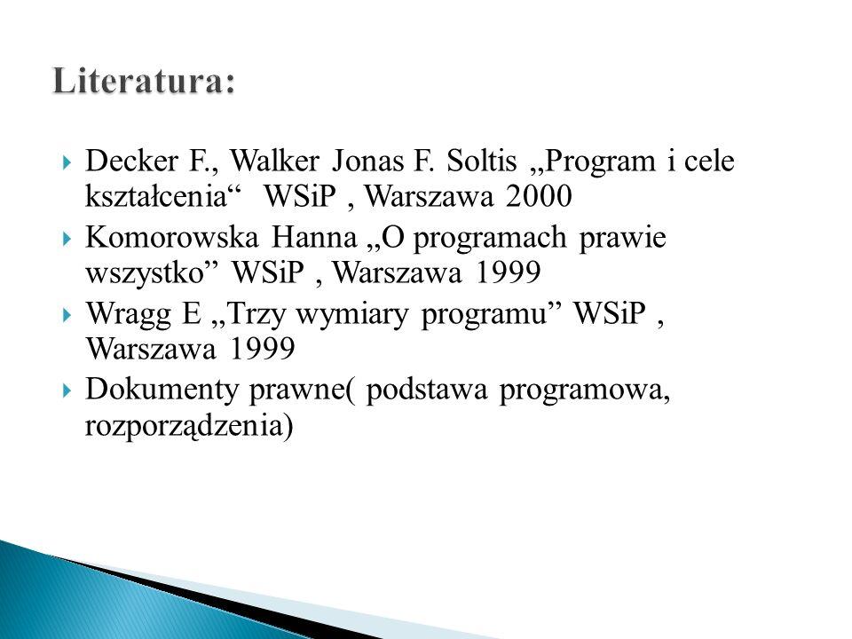 """Literatura: Decker F., Walker Jonas F. Soltis """"Program i cele kształcenia WSiP , Warszawa 2000."""
