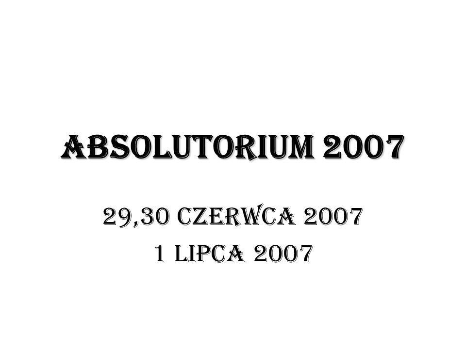 ABSOLUTORIUM 2007 29,30 CZERWCA 2007 1 LIPCA 2007