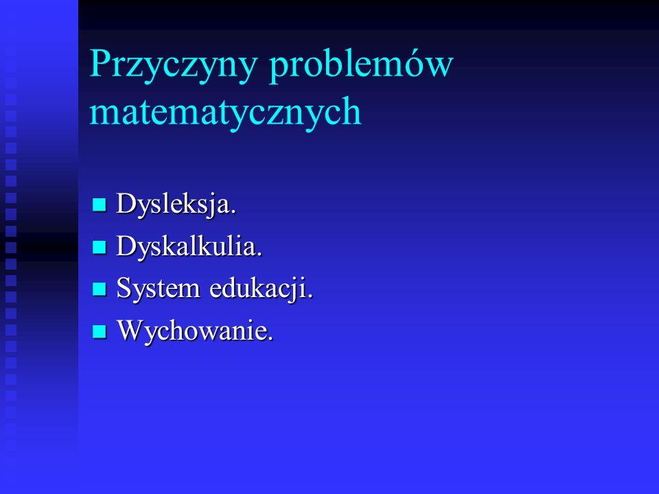 Przyczyny problemów matematycznych