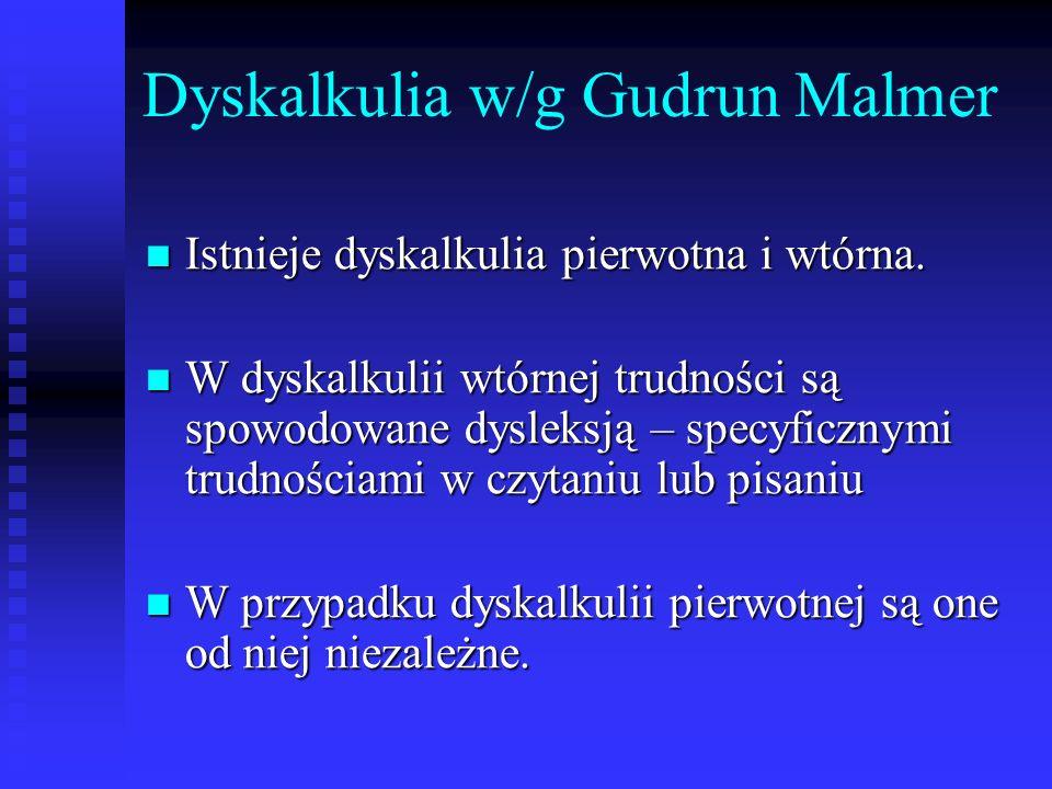 Dyskalkulia w/g Gudrun Malmer