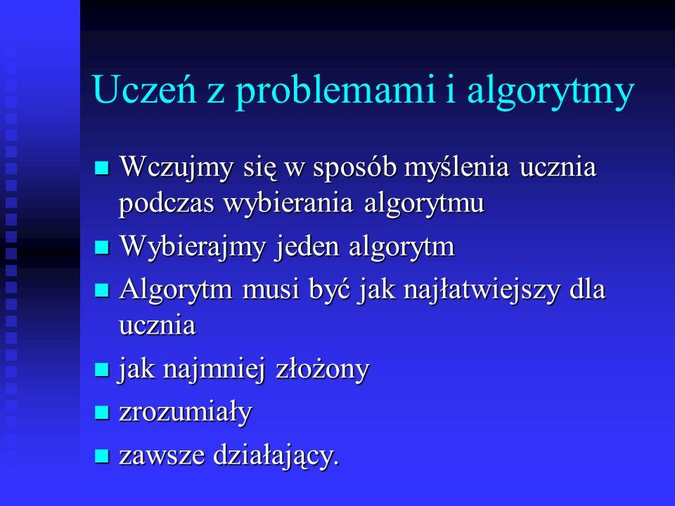 Uczeń z problemami i algorytmy