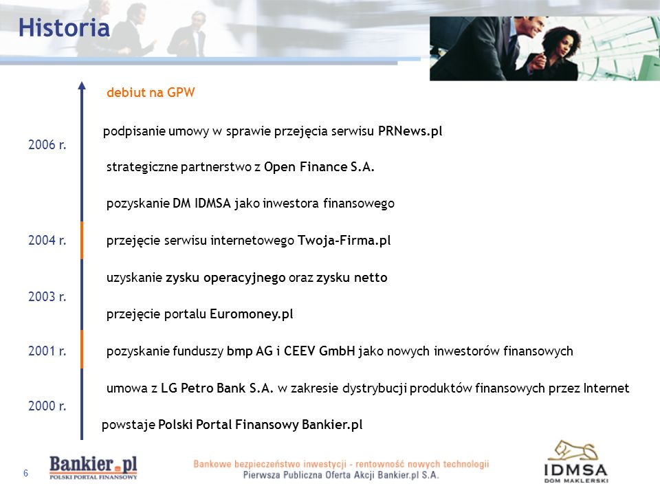Historiadebiut na GPW. podpisanie umowy w sprawie przejęcia serwisu PRNews.pl. 2006 r. strategiczne partnerstwo z Open Finance S.A.