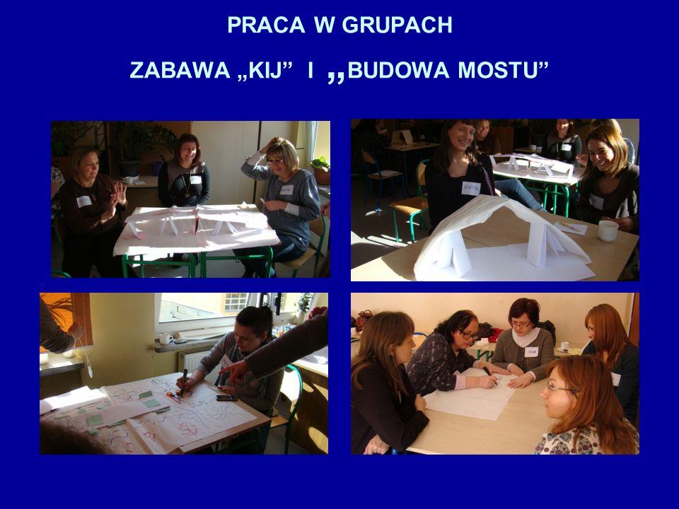 """PRACA W GRUPACH ZABAWA """"KIJ I """"BUDOWA MOSTU"""