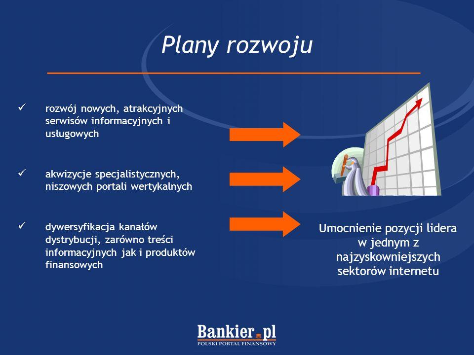 Plany rozwoju rozwój nowych, atrakcyjnych serwisów informacyjnych i usługowych. akwizycje specjalistycznych, niszowych portali wertykalnych.