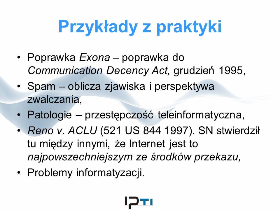 Przykłady z praktyki Poprawka Exona – poprawka do Communication Decency Act, grudzień 1995, Spam – oblicza zjawiska i perspektywa zwalczania,