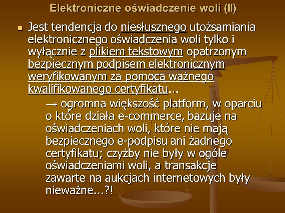 Elektroniczne oświadczenie woli (II)