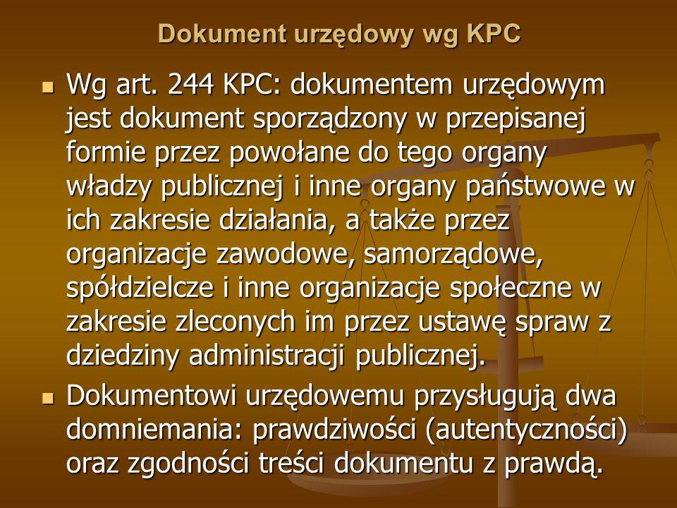 Dokument urzędowy wg KPC