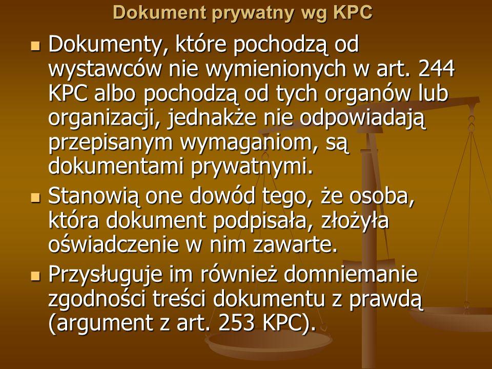 Dokument prywatny wg KPC