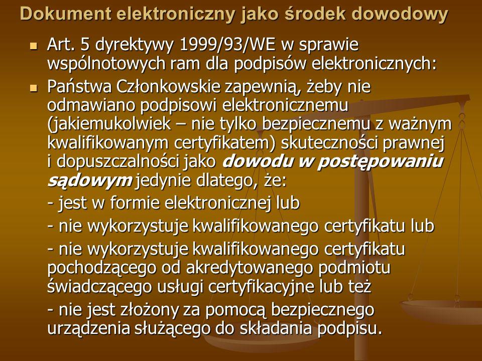 Dokument elektroniczny jako środek dowodowy