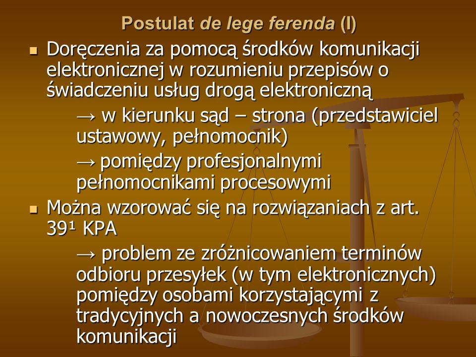 Postulat de lege ferenda (I)