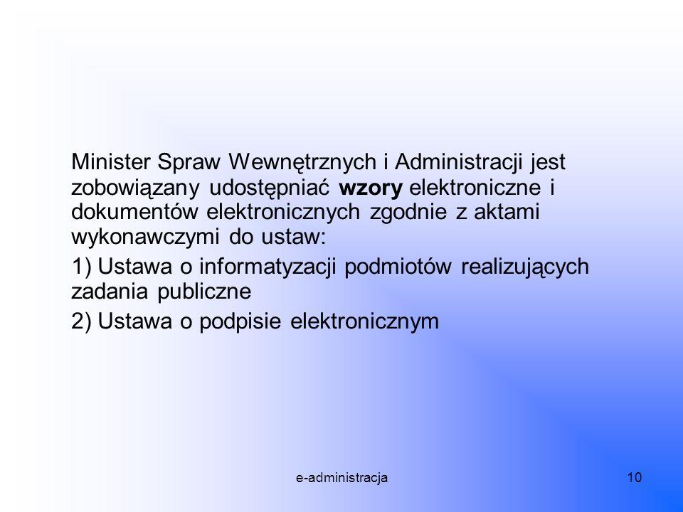 Minister Spraw Wewnętrznych i Administracji jest zobowiązany udostępniać wzory elektroniczne i dokumentów elektronicznych zgodnie z aktami wykonawczymi do ustaw:
