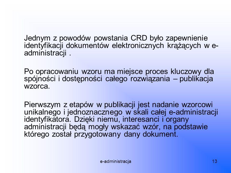 Jednym z powodów powstania CRD było zapewnienie identyfikacji dokumentów elektronicznych krążących w e-administracji .