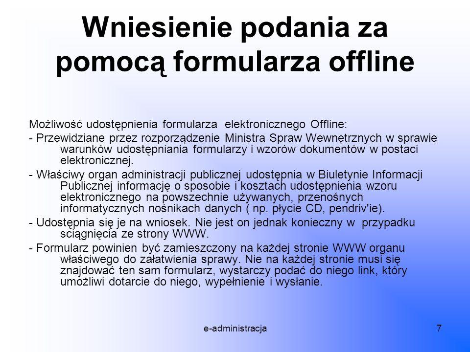 Wniesienie podania za pomocą formularza offline