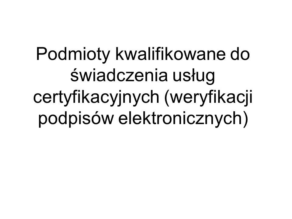 Podmioty kwalifikowane do świadczenia usług certyfikacyjnych (weryfikacji podpisów elektronicznych)