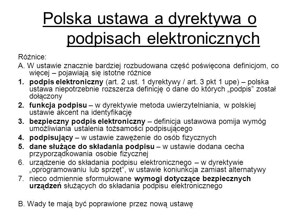 Polska ustawa a dyrektywa o podpisach elektronicznych