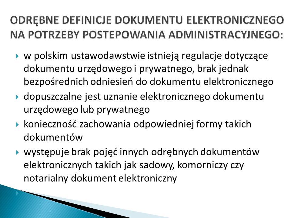 ODRĘBNE DEFINICJE DOKUMENTU ELEKTRONICZNEGO NA POTRZEBY POSTEPOWANIA ADMINISTRACYJNEGO: