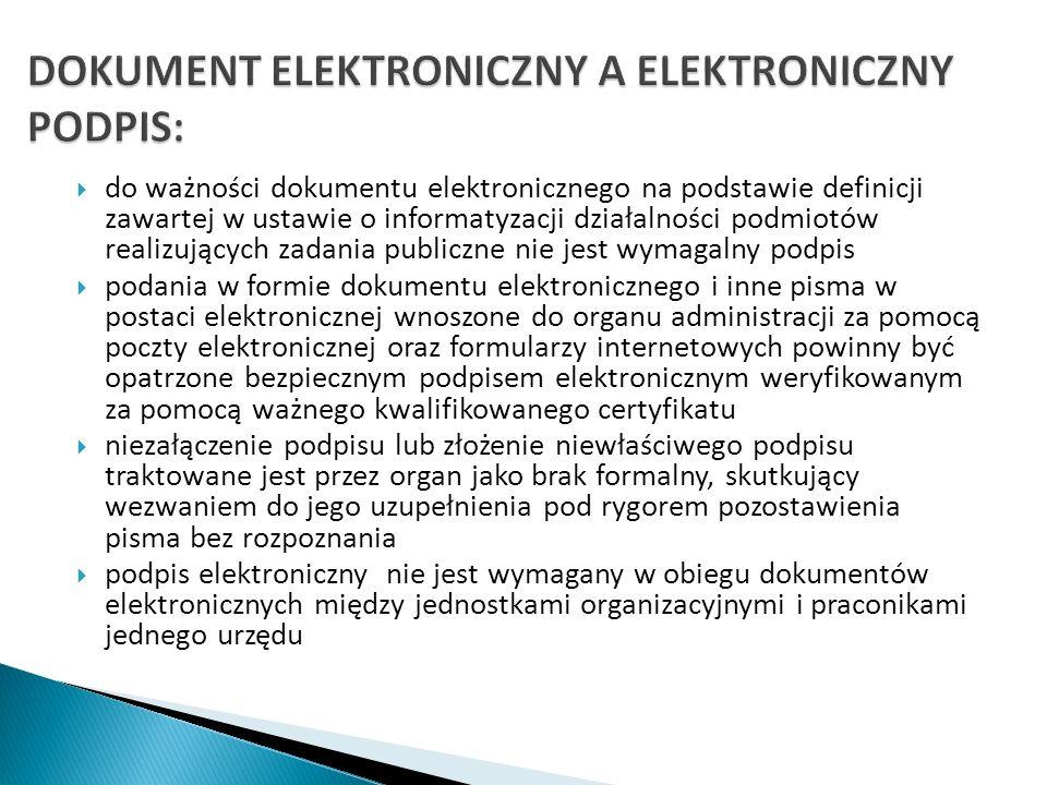 DOKUMENT ELEKTRONICZNY A ELEKTRONICZNY PODPIS: