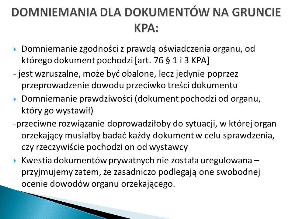 DOMNIEMANIA DLA DOKUMENTÓW NA GRUNCIE KPA: