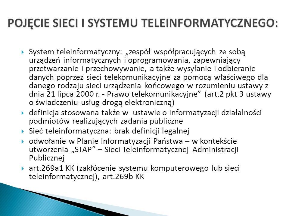 POJĘCIE SIECI I SYSTEMU TELEINFORMATYCZNEGO: