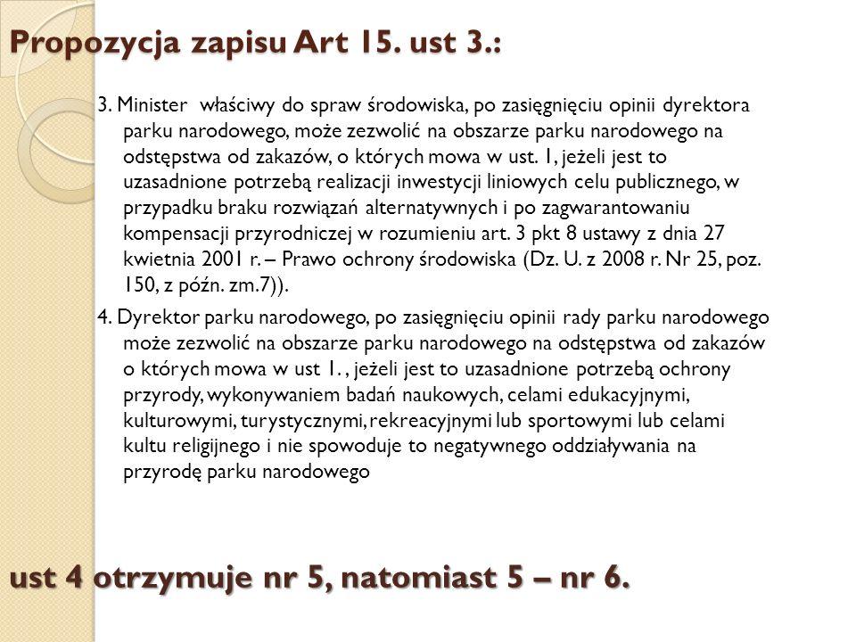 Propozycja zapisu Art 15. ust 3.: