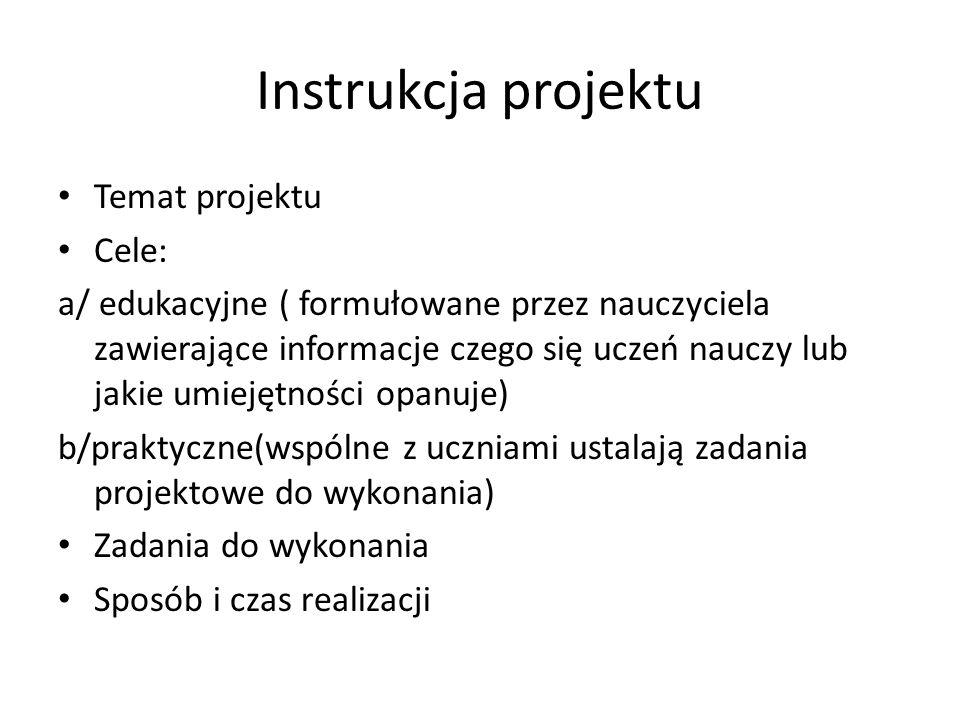 Instrukcja projektu Temat projektu Cele: