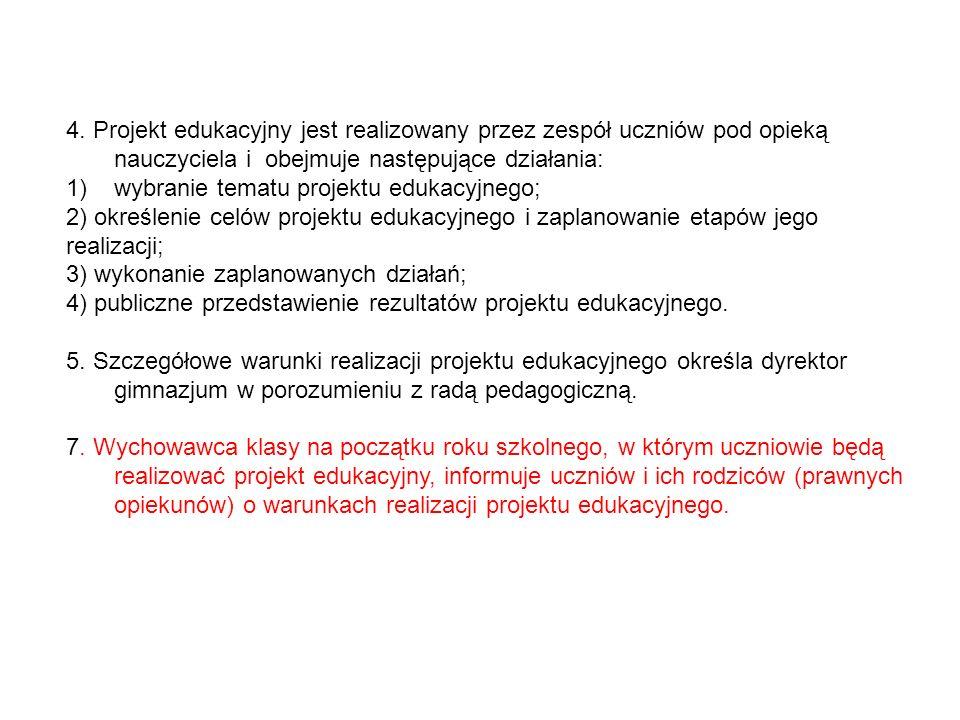 4. Projekt edukacyjny jest realizowany przez zespół uczniów pod opieką nauczyciela i obejmuje następujące działania: