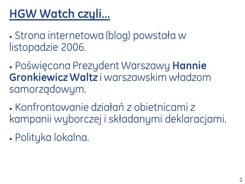 HGW Watch czyli… Strona internetowa (blog) powstała w listopadzie 2006.