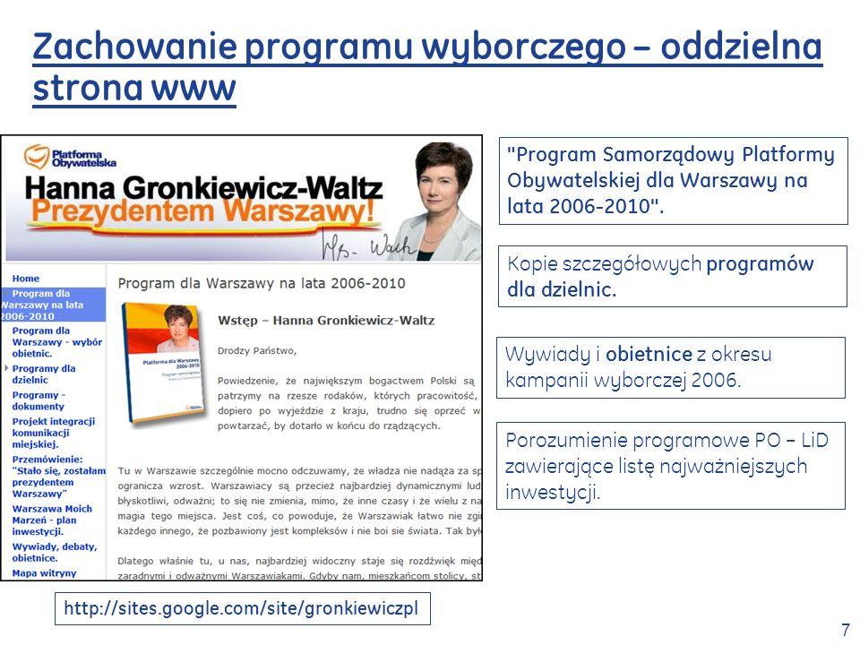 Zachowanie programu wyborczego – oddzielna strona www