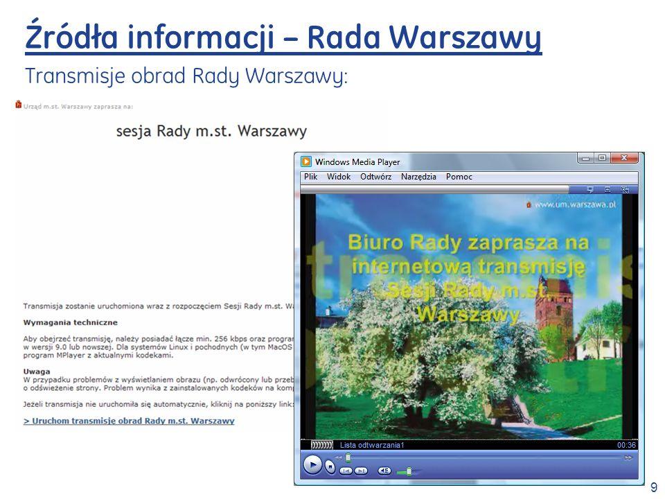 Źródła informacji – Rada Warszawy