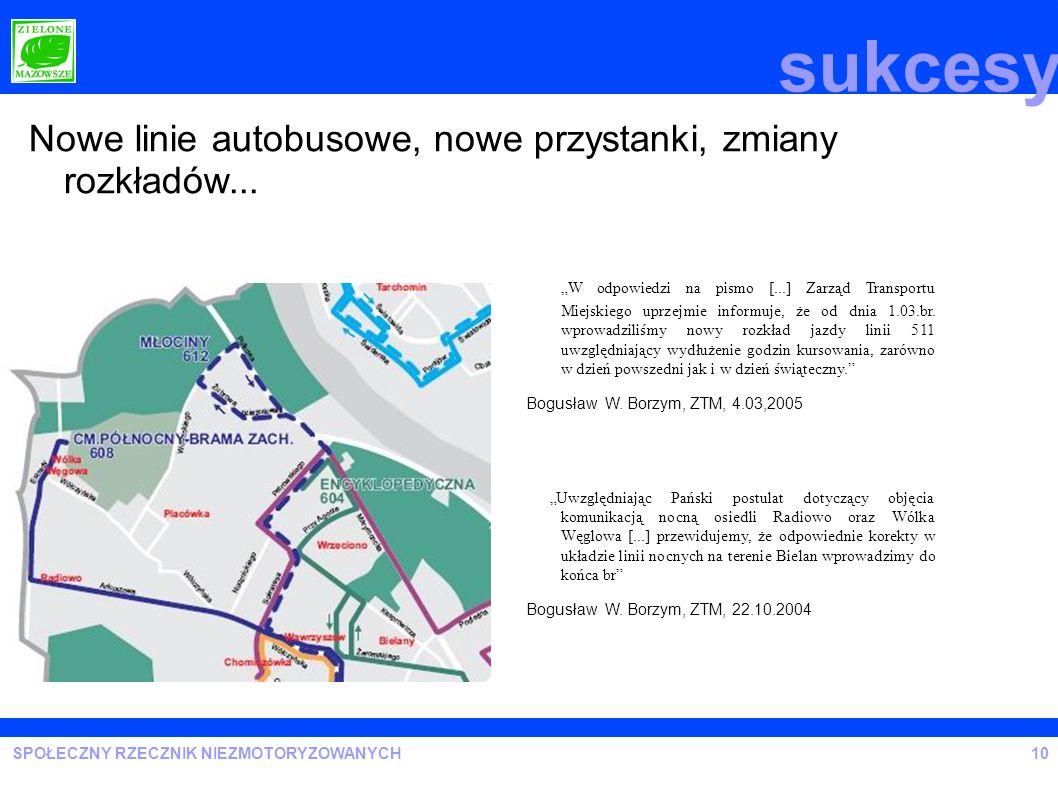 sukcesy Nowe linie autobusowe, nowe przystanki, zmiany rozkładów...