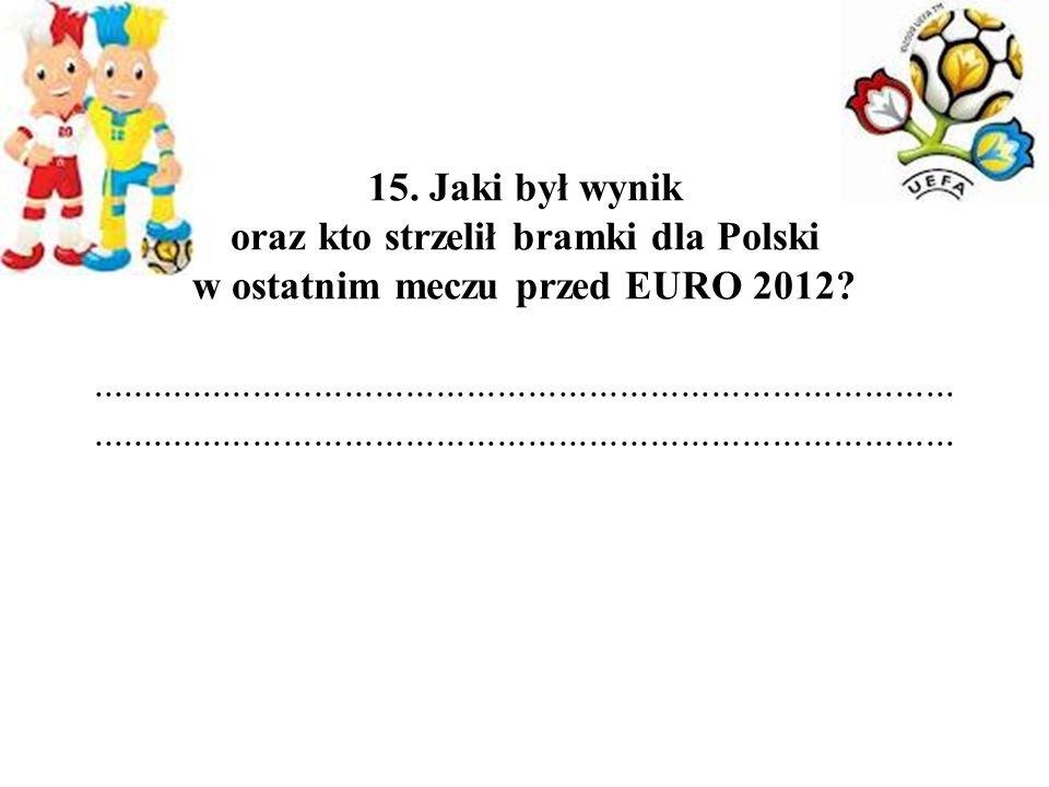 15. Jaki był wynik oraz kto strzelił bramki dla Polski w ostatnim meczu przed EURO 2012.