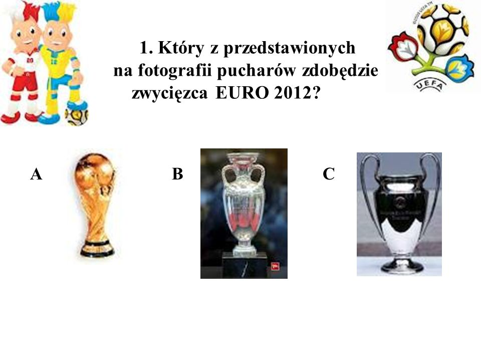1. Który z przedstawionych na fotografii pucharów zdobędzie zwycięzca EURO 2012
