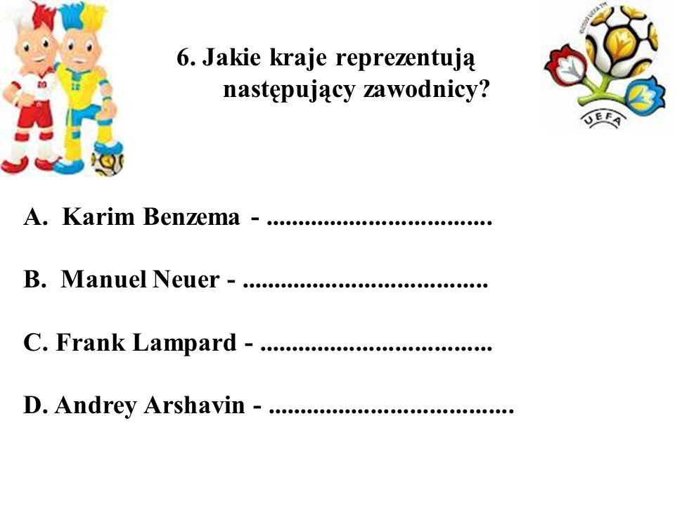 6. Jakie kraje reprezentują następujący zawodnicy