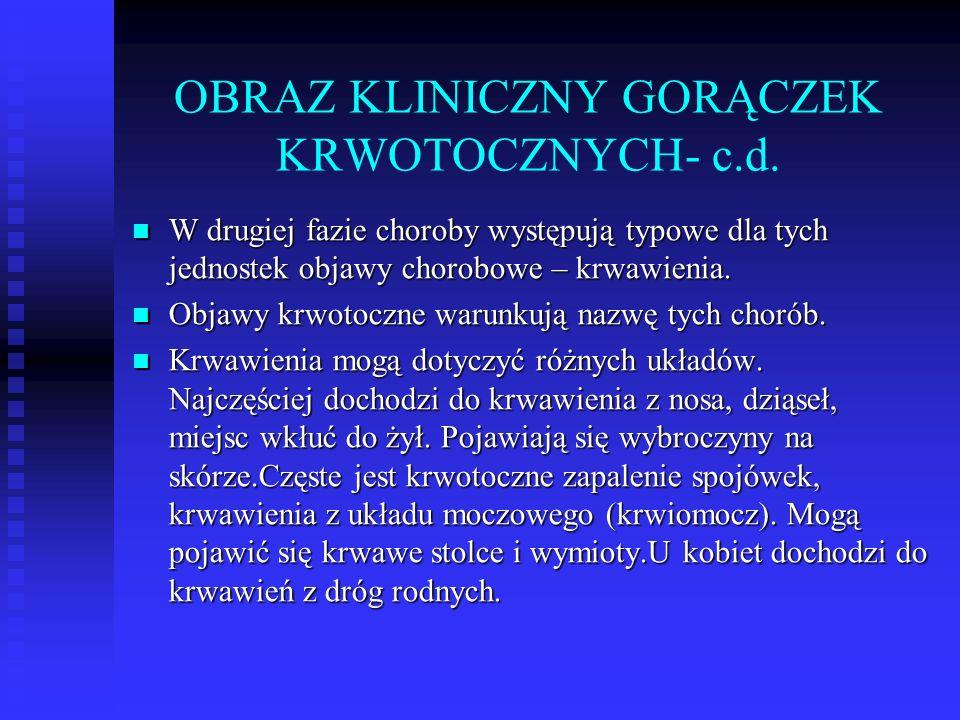 OBRAZ KLINICZNY GORĄCZEK KRWOTOCZNYCH- c.d.