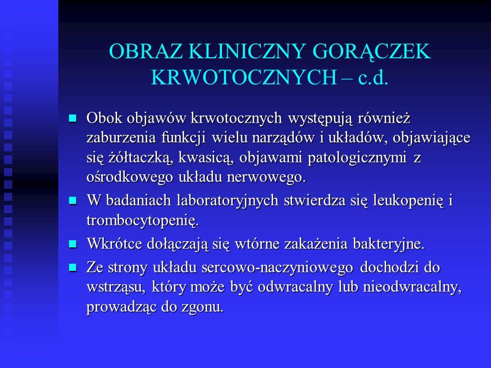 OBRAZ KLINICZNY GORĄCZEK KRWOTOCZNYCH – c.d.