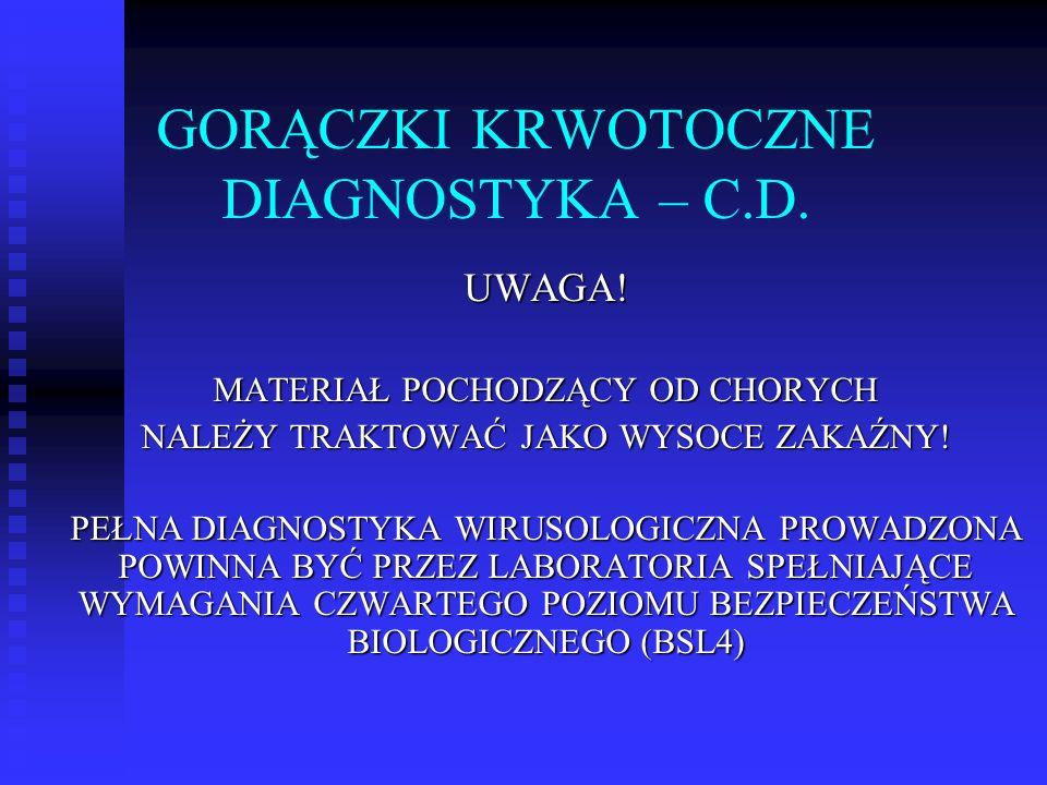 GORĄCZKI KRWOTOCZNE DIAGNOSTYKA – C.D.