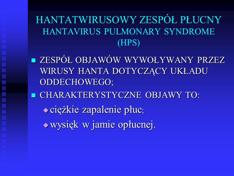 HANTATWIRUSOWY ZESPÓŁ PŁUCNY HANTAVIRUS PULMONARY SYNDROME (HPS)