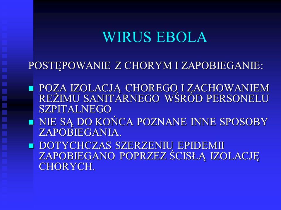 WIRUS EBOLA POSTĘPOWANIE Z CHORYM I ZAPOBIEGANIE: