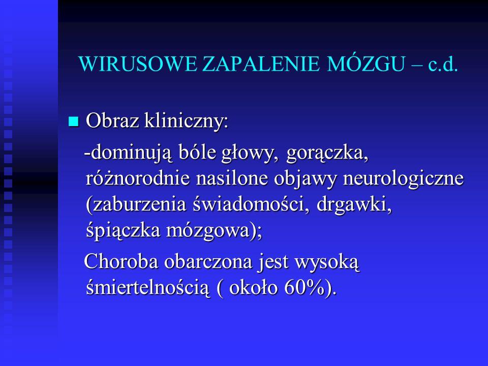 WIRUSOWE ZAPALENIE MÓZGU – c.d.