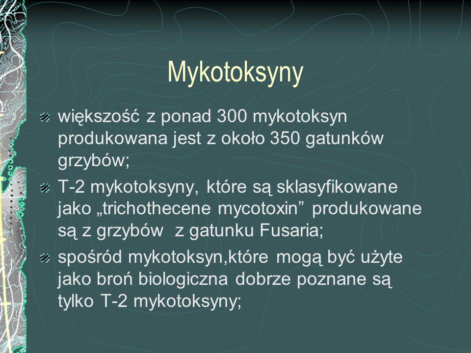 Mykotoksyny większość z ponad 300 mykotoksyn produkowana jest z około 350 gatunków grzybów;