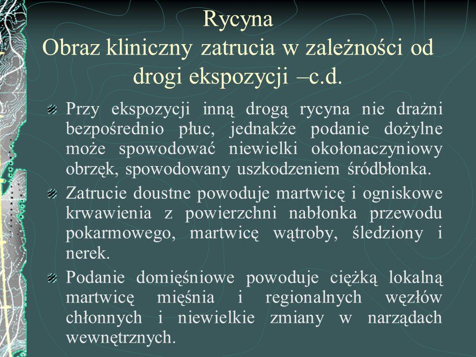 Rycyna Obraz kliniczny zatrucia w zależności od drogi ekspozycji –c.d.