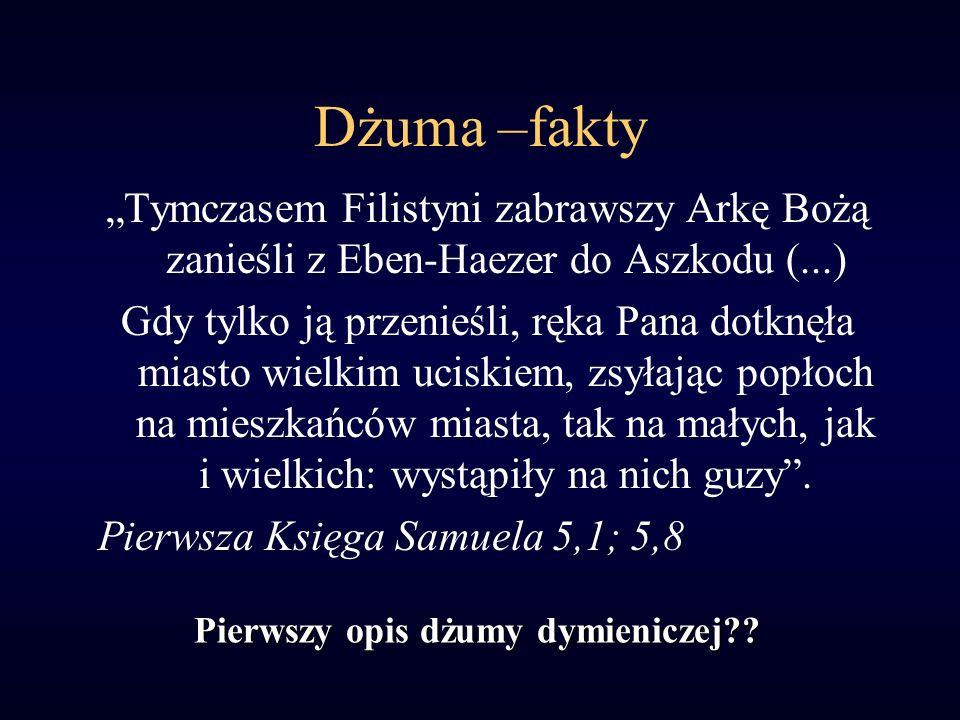 """Dżuma –fakty """"Tymczasem Filistyni zabrawszy Arkę Bożą zanieśli z Eben-Haezer do Aszkodu (...)"""