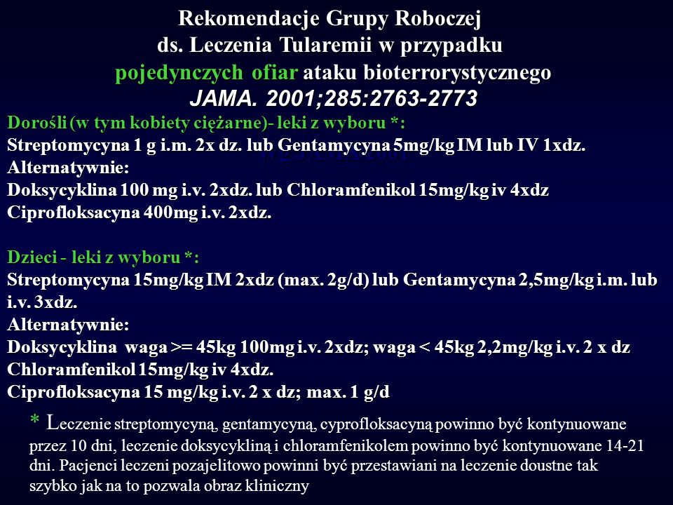 Rekomendacje Grupy Roboczej ds. Leczenia Tularemii w przypadku