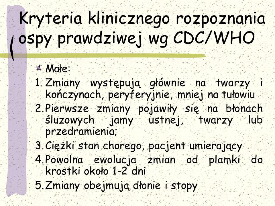 Kryteria klinicznego rozpoznania ospy prawdziwej wg CDC/WHO