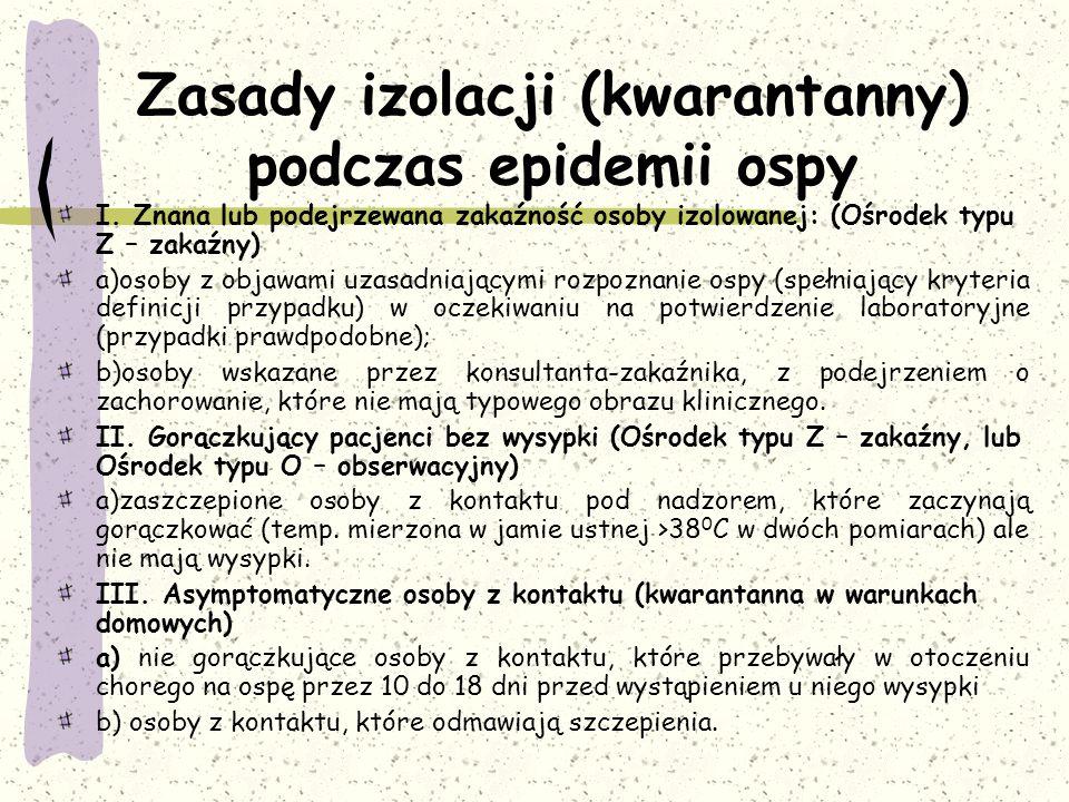Zasady izolacji (kwarantanny) podczas epidemii ospy