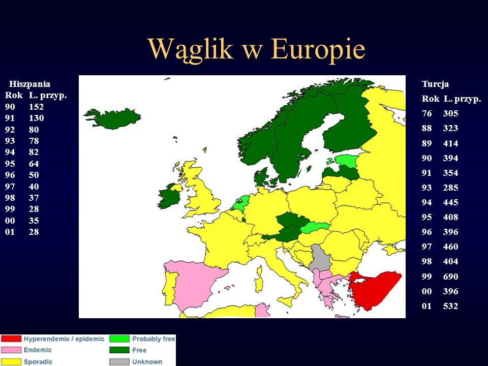 Wąglik w Europie Rok L. przyp. 90 152 91 130 92 80 93 78 94 82 95 64