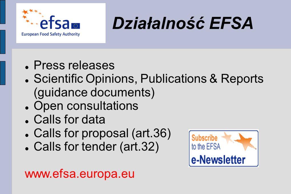 Działalność EFSA Press releases